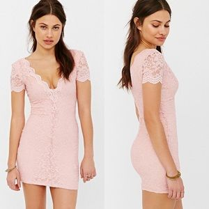 Kimchi Blue Lace Pink Bodycon Dress Size XS